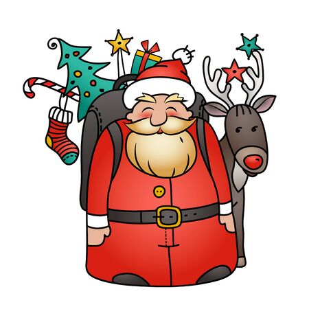 Holiday illustration with Santa Claus and reindeer. Santa with bag, Christmas tree , gifts and Christmas decorations Illustration