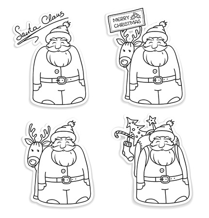Set of Santa Claus stickers.Black white illustrations for Christmas. Santa Claus with reindeer, packbag, Christmas tree and gifts. Sketches of funny Santa characters.