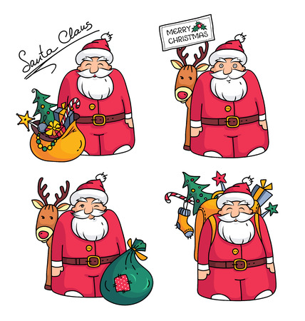 Holiday illustration with Santa Claus character,reindeer, bag, packbag, Christmas tree, gifts and Christmas decorations Illustration