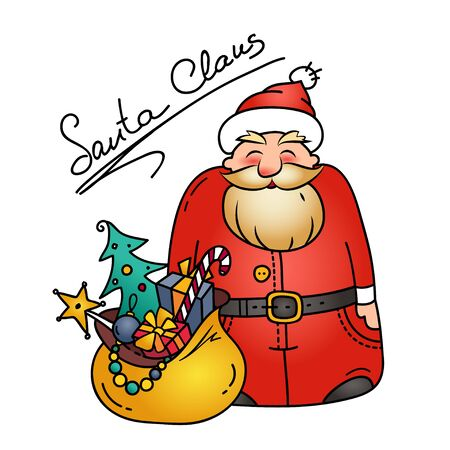 Holiday illustration with funny Santa Claus and bag of gifts. Christmas character. Christmas symbol.