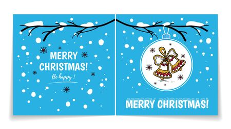 Double sided holiday card with Christmas balls on snowy branch. Illustration with gingerbread bells.