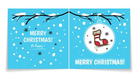 Double sided holiday card with Christmas balls on snowy branch. Illustration with gingerbread sock. Winter background