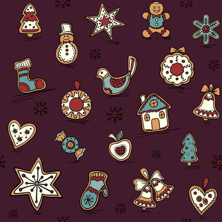 Christmas seamless pattern with Gingerbread. Holiday pattern with Christmas icons. Illustration
