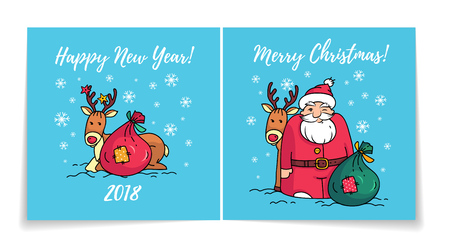 Merry Christmas card with Santa Claus. Cover and back of holiday card. Happy New Year 2018 card. Santa, reindeer and gifts.
