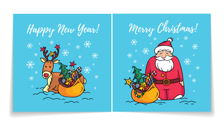 Merry Christmas card with Santa Claus. Cover and back of holiday card. Happy new year card. Santa, reindeer and gifts.