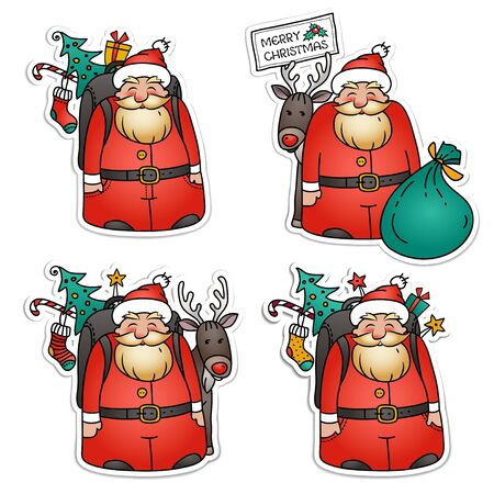 Set of Santa Claus stickers. Santa Claus with reindeer, pack bag, Christmas tree and gifts. Holiday Christmas illustration. Illustration