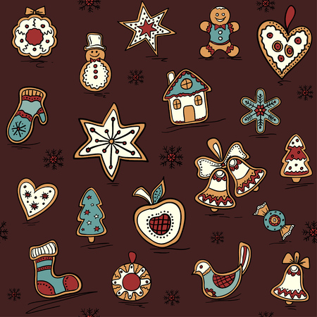 Christmas seamless pattern with gingerbreads holiday pattern icons