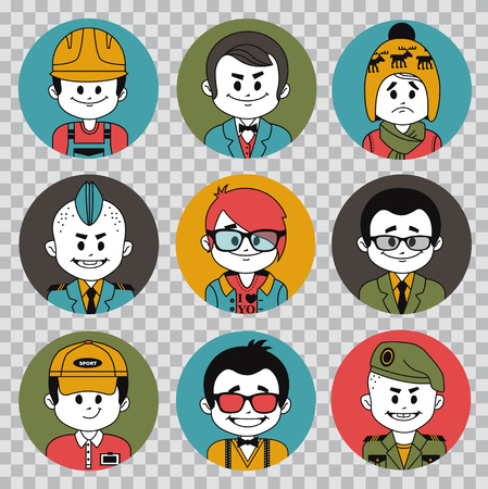 People avatars collection.Professions vector flat icons.Soldier, businessman, manager, showman, tennis player, financier