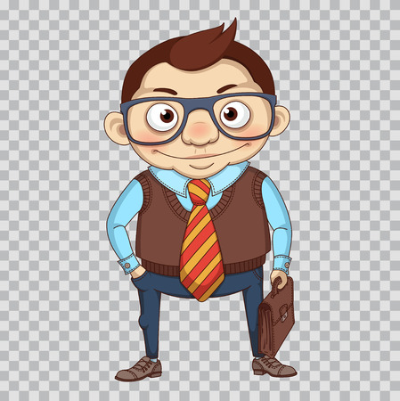 Funny cartoon manager or businessman. Clerk in glass and with leather briefcase. Business character. Office manager Illustration