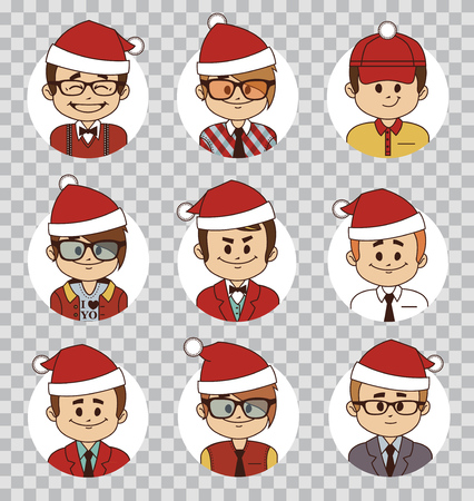 Holiday people avatars collection. Office team. Characters in Santa Claus hats. Men in Santa Claus costume.Business team