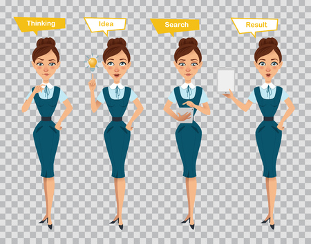 Woman in different poses. Businesswoman in formal wear. Woman standing, thinking, searching , showing result on tablet. Stock Photo