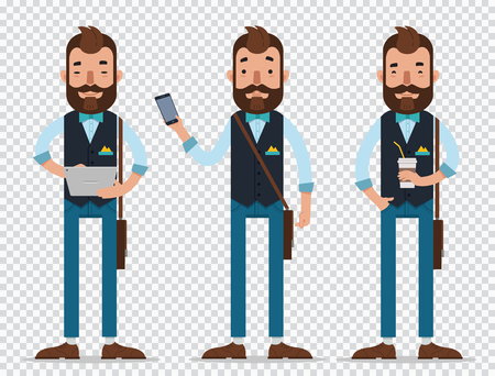 Businessman cartoon character in different positions.Man hold tablet and phone, stand with cap of coffee and smile Illustration