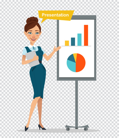 Woman with tablet standing near flipchart. Woman making presentation, showing charts, reporting, training staff