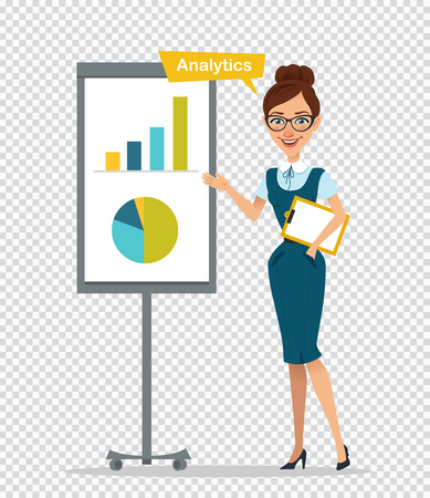 Woman with clipboard standing near flipchart.Concept Analitics.Woman showing diagram and histogram.Business illustration