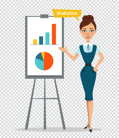 Woman character standing near flipchart. Concept Statictics.Woman showing diagram and histogram. Business illustration