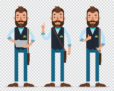 Businessman cartoon character in different poses. Man hold tablet , show to up and show OK. Business character. Flat Illustration