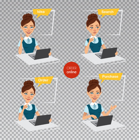 Woman makes order online. Four stages of process. Woman sitting at table, working at laptop. Online shopping