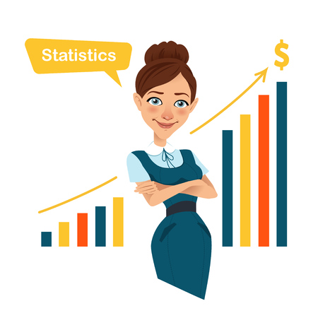 Woman financier standing near profit growth chart. Beau