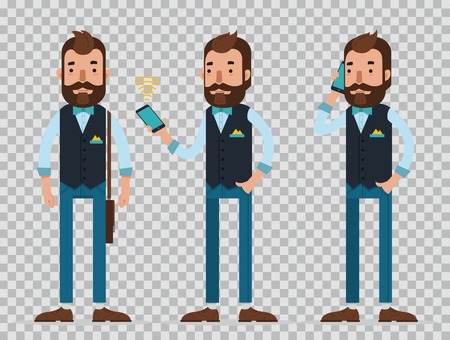 Businessman cartoon character in different poses. Fashionable young man speak on smartphone. Vector, flat illustration