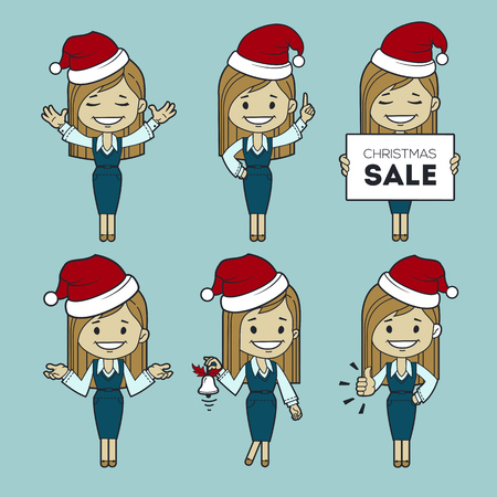 Set of Santa Claus girls. Christmas sale. Holiday discount. Christmas character woman. Holiday sale. Collection of Santa Claus women. Character in different poses Illustration