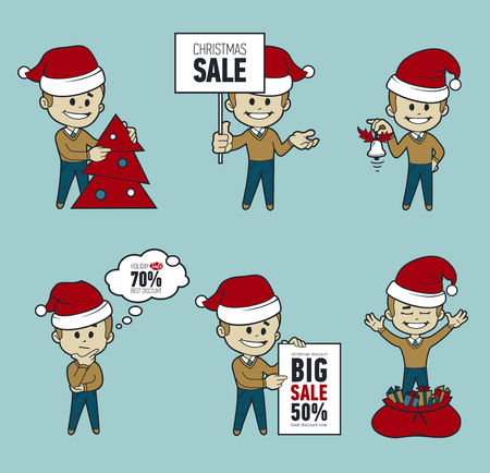 Set of Santa Claus men. Christmas sale. Big sale 50. Holiday discount. Christmas characters. Collection of Santa Claus. Character in different poses. Santa with gifts, Christmas tree, bag, bell