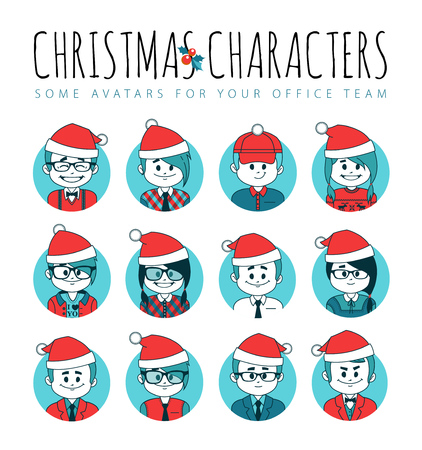 Set of Christmas avatars your office team.Collection office employee in red Santa hats.IT industry.Different professions