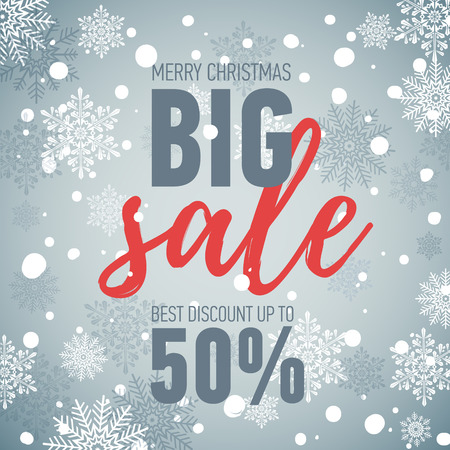 Christmas sale banner.Big sale 50.Holiday discount Illustration
