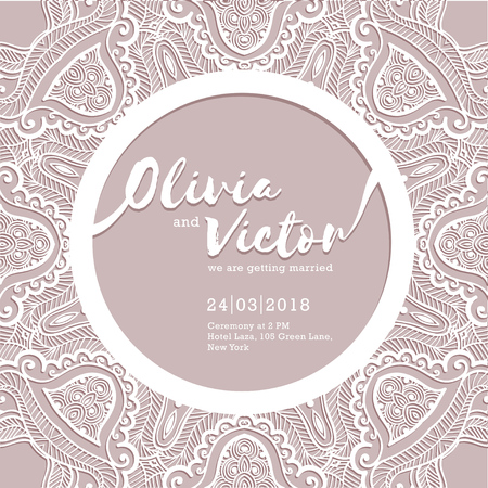 Wedding invitation card. Template of wedding card with lace border. Vector ornament frame. Laser cut pattern Illustration