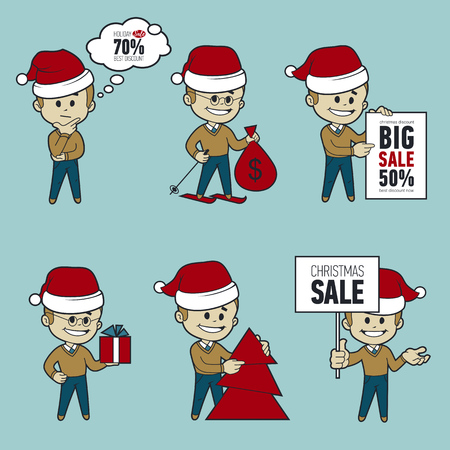 Set of Santa Claus men. Christmas sale. Big sale 50. Santa on skis. Santa with bag,Christmas tree, gifts and sale poster. Collection of Santa Claus. Character in different poses.