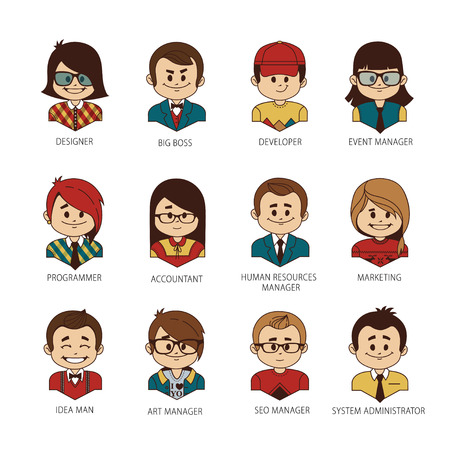 Set of round people icons your office team. Collection of professions in IT company. IT industry. Man, woman, boy, girl on white background