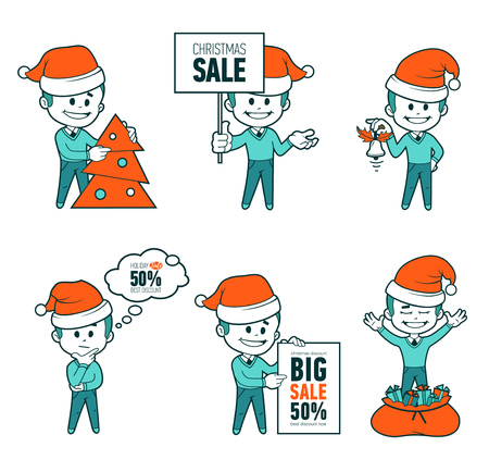 Set of Santa Claus men. Christmas sale. Big sale 50. Holiday discount. Christmas characters. Collection of Santa Claus.