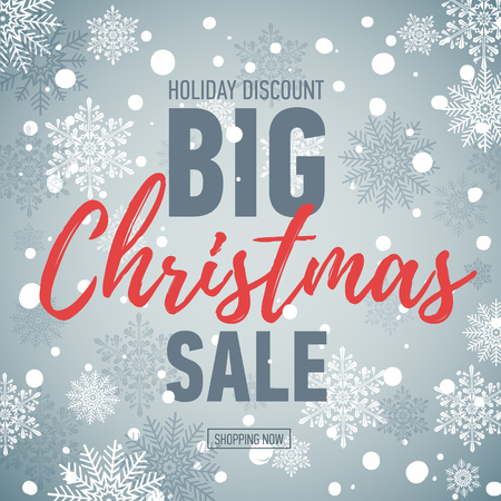 Christmas sale banner. Big sale 50. Holiday discount. Winter seasonal banner. Advertising shopping poster.