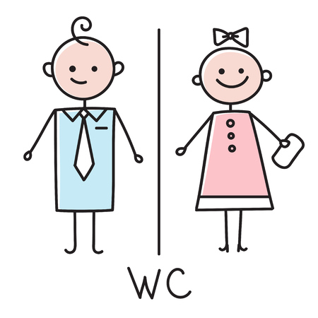WC icon. Toilet door plate icon. Bathroom plate. Men and women WC sign for restroom. Colored vector sketch on white background Stock Illustratie