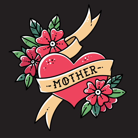 Tattoo heart with ribbon, flowers and word mother. Old school retro vector illustration on balck background
