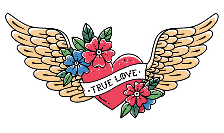 Hand drawn tattoo flying heart with wings. Tattoo heart with ribbon and flowers. Illustration