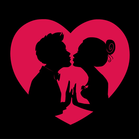 Silhouettes of loving couple on background of red heart.Man and woman are kissing.Vector illustration for Valentines Day