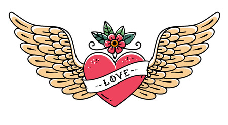 Tätowieren Sie Herz mit Flügeln, Blume und Band mit Beschriftung Liebe. Old School-Stil. Fliegendes Herz. Strichzeichnung Vektorgrafik