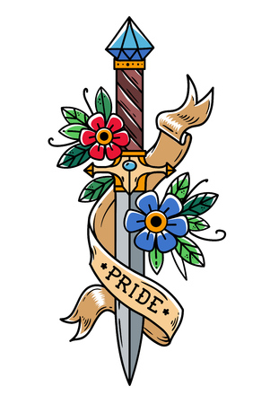 Vector tattoo dagger with flowers and ribbon. Ancient oriental dagger decorated with large sapphire. Illustration