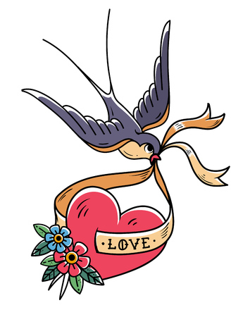 Swallow carries over red heart on ribbon with lettering Love. Illustration for Valentines Day. Tattoo heart with flowers and bird. Old school style. Retro tattoo Illustration