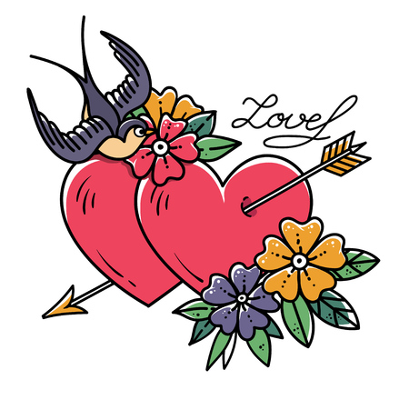 Tattoo art. Two hearts pierced by arrow. Tattoo hearts with flower and Swallow. Love. Holiday illustration.Valentines Day.