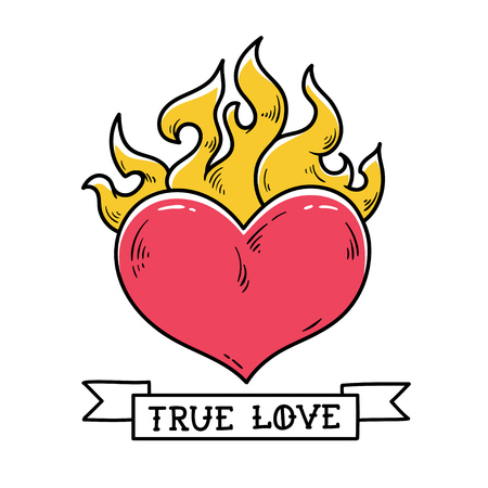 Flaming Heart Tattoo. True love. Red burning heart. Passionate heart. Old school styled tattoo of flaming heart. Illustration