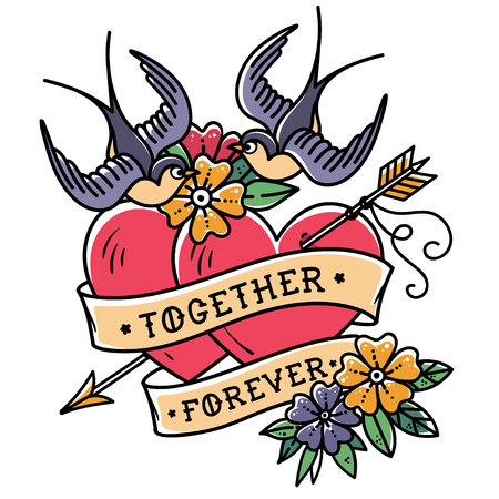 Tattoo art. Two hearts pierced by arrow. Tattoo hearts with flower and swallows. Together forever Illustration