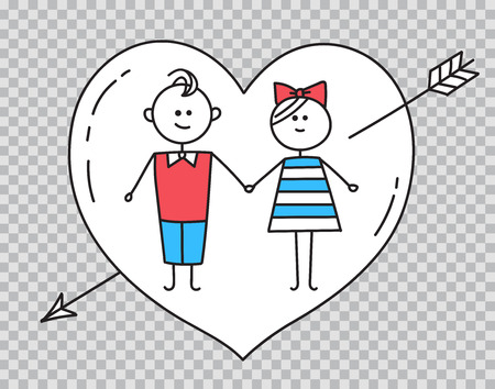 Guy,girl holding hands with heart pierced by arrow