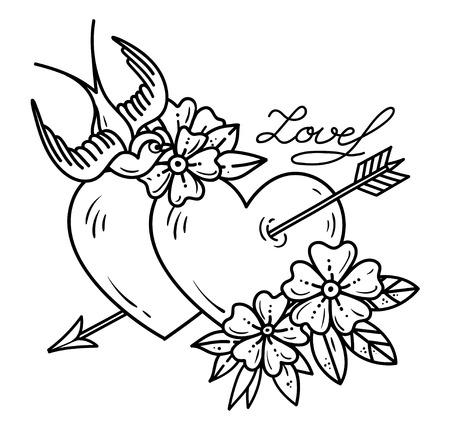 Tattoo Herz mit Pfeil. Zwei Herzen von Pfeil mit Blumen und Vogel durchbohrt. Liebe. Alte Schultätowierungskunst. Schwarzweißabbildung, Aufkleber für Valentinstag.