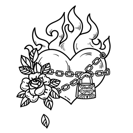 Tattoo flaming heart bound by chains of love. Burning heart with roses. Tattoo heart in fetters of love on white background. Illustration