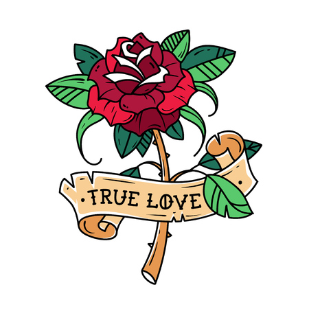Tattoo red rose with ribbon, passion and love. Symbol of love, rose is wrapped in ribbon with inscription true love, old school design.