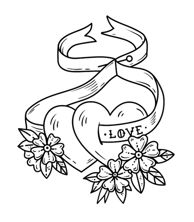 Two loving hearts on tied with ribbon. Tattoo hearts in flowers. Love. Black and white illustration for Valentines Day. Illustration