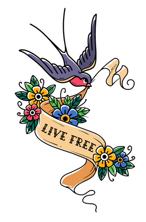 Bird flies and carries ribbon is decorated with flowers. Ribbon with inscription Live Free. Old School tattoo design