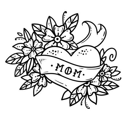 Tatuaje corazón con cinta, flores y letras MOM sin color. Tatuaje retro de la vieja escuela ilustración en blanco y negro.