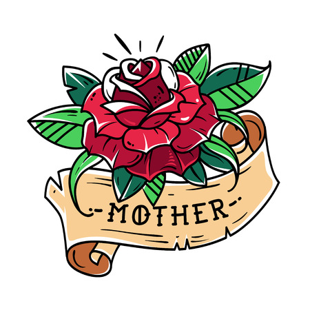 Tattoo red rose with ribbon and lettering mother old school style.